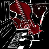 image of double-bass  - Vector illustration of a Jazz piano and double - JPG