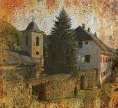 picture of luka  - Grunge background photo of orthodox monastery Gomionica near Banja Luka Republika Srpska Bosnia and Herzegovina - JPG