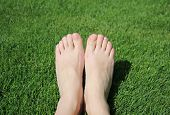 foto of callus  - female feet on a green lawn  in summer - JPG