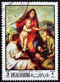 Postage stamp Ras al-Khaimah 1970 Madonna della Scala by Andrea