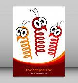 Spring bugs leaflet design vector.