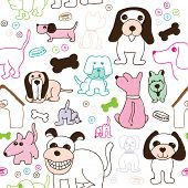 Seamless dog doodle kids background pattern in vector
