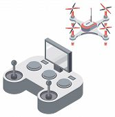 Drone With Remote Controller, Wireless Device With Propellers, Quadcopter Symbol, Aircraft With Remo poster