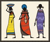 Vector set of African women in traditional clothing.