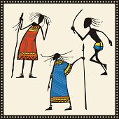 Vector set of African warriors in traditional clothing.