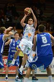 KAPOSVAR, HUNGARY - FEBRUARY 22: Kornel Kiss (in white 6) in action at a Hungarian Cup basketball ga
