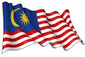 image of ringgit  - Waving Malaysian flag - JPG
