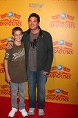 LOS ANGELES - JUL 12:  Dean Cain and son (in brown) arrives at 'Dragons' presented by Ringling Bros.