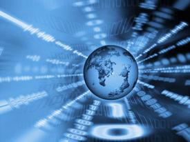 stock photo of world-globe  - abstract binary code with globe - JPG
