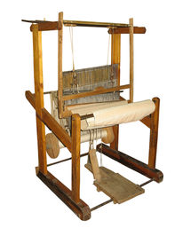 image of handloom  - Ancient wooden loom isolated over white background - JPG