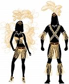 stock photo of zulu  - Vector Illustration Zulu Couple for Carnival Costume Silhouettes with a man and a woman - JPG