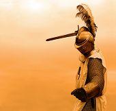 Fundo laranja do cavaleiro