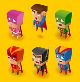 Superhero Set. Vector Illustration