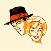 foto of flirt  - Vintage flirting couple in three color print halftone pattern - JPG