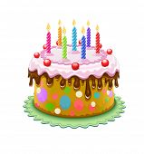 birthday cake with burning candles. Rasterized illustration. Vector version also available in my gallery.