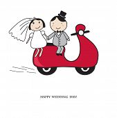 stock photo of vespa  - Bride and groom on the red scooter - JPG