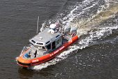 JACKSONVILLE, FLORIDA - MARCH 17: A US Coast Guard 25 Foot Defender Class Boat patrolling the waterw