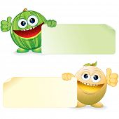 Green Watermelon and Sweet Melon. Funny Fruits with Blank Sign. Vector Cartoon Illustration.