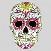stock photo of sugar skulls  - Day of The Dead colorful Skull with floral ornament - JPG