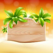 Summer design. Palms and poster board. tropical Vacation