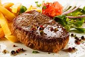 stock photo of pork cutlet  - Grilled steak - JPG