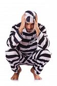 pic of inmate  - Inmate in stiped uniform on white - JPG