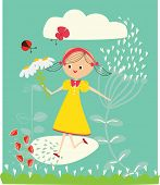 A cute and happy girl holding flowers is running in a field of flowers
