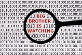 Internet security concept the words big brother is watching on a digital tablet screen with a magnif