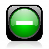 minus black and green square web glossy icon