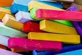 stock photo of red back  - Colorful chalk pastels  - JPG
