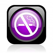 no smoking black and violet square web glossy icon