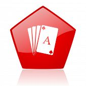 playing cards red web glossy icon