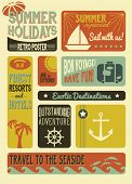 Summer Holidays Poster - Retro style summer poster, with simple iconic images, including anchor, sailboat and palm trees