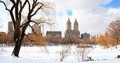Parque Central de Nueva York Manhattan en invierno con hielo y nieve sobre el lago con rascacielos y azul
