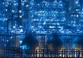 stock photo of pipeline  - Refinery industrial plant with Industry boiler at night - JPG