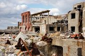 Ruins on the abandoned island of Gunkanjima off the coast of Nagasaki Prefecture, Japan.
