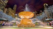 stock photo of fountains  - Fountain in Bryant Park in New York City - JPG
