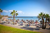 TENERIFE, SPAIN-SEPTEMBER 17:Beach Playa de la Vistas  on September 17, 2011. Tenerife,Spain. More t