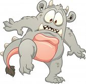Cartoon gray monster. Vector clip art illustration with simple gradients. All in a single layer.