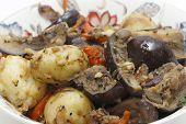 Balti style aubergine and potato curry