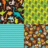 Seamless baby dinosaur animal pattern set illustration background with chevron and trees in vector