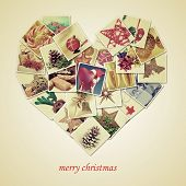 a collage of different pictures of christmas items shot by myself, forming a heart, and the sentence