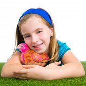 breeder hens kid girl rancher farmer hug chicken chick white background