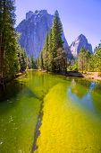 pic of granite dome  - Yosemite Merced River and Half Dome in California National Parks US - JPG