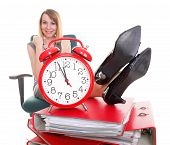 Woman Work Stoppage Businesswoman Relaxing Legs Up Plenty Of Documents Isolated
