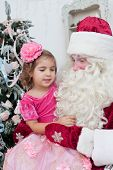 stock photo of saint-nicolas  - Girl in an elegant dress and Saint Nicolas - JPG