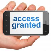 Privacy concept: Access Granted on smartphone