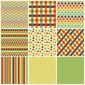 stock photo of pattern  - Seamless geometric hipster background set - JPG