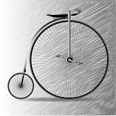 pic of penny-farthing  - A typical penny farthing bicycle over a scribble background - JPG