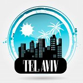 stock photo of israel people  - Stamp tel aviv with sun - JPG